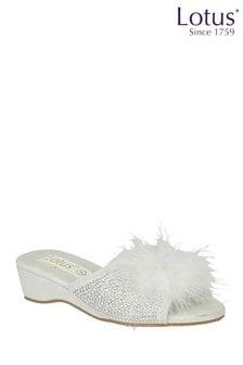 Lotus Footwear Silver Open Toe Slippers