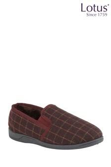 Lotus Footwear Burgundy Check Slippers