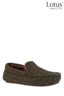 Lotus Footwear Green Moccasin Slippers