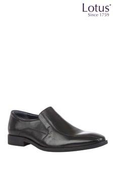Lotus Footwear Black Leather Loafers