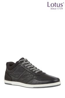 Lotus Footwear Black Leather Casual Lace-Up Trainers