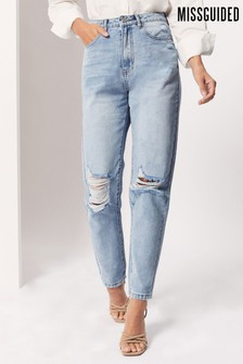 Missguided Blue High Waisted Busted Knee Mom Jean