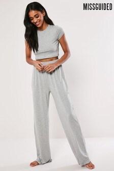 Missguided Grey Cap Sleeve Crop Top Wide Leg Pyjama Set
