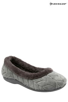 Dunlop Grey Ladies Olwen Closed Toe Plush Slippers