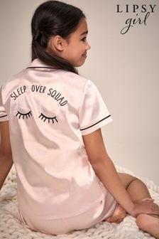 Lipsy Pink Eyelash Satin Pyjama Set
