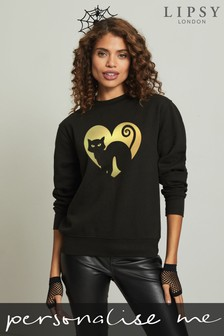 Personalised Lipsy Halloween Cat Heart Womens Sweatshirt by Instajunction