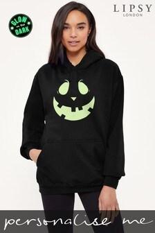 Personalised Lipsy Halloween Mr Pumpkin Face Womens Hooded Sweatshirt by Instajunction