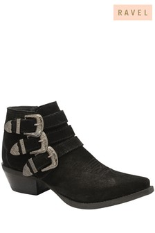 Ravel Black Suede Pointed Toe Ankle Boots
