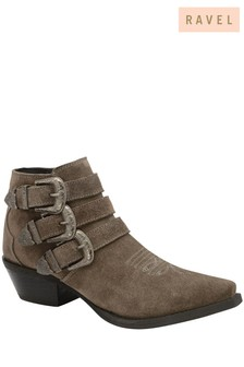 Ravel Grey Suede Pointed Toe Ankle Boots
