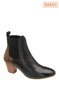 Ravel Black Leather and Snake Print Ankle Boots