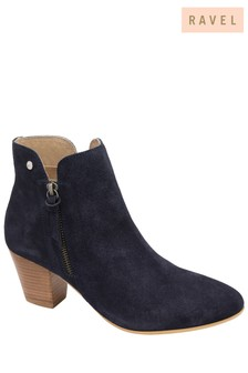 Ravel Navy Suede Ankle Boots