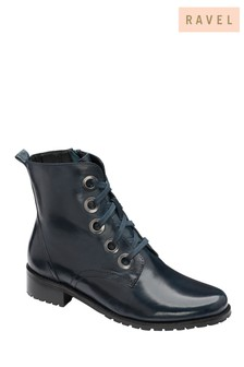 Ravel Navy Sangrai Leather Lace Up Ankle Boots