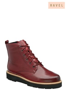 Ravel Red Sangrai Leather Lace Up Ankle Boots