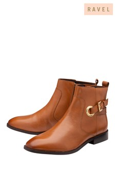 Ravel Brown Leather Ankle Boots