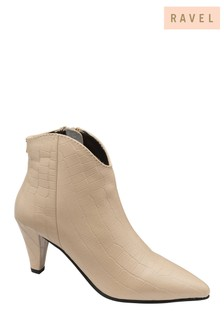 Ravel Ivory Printed Leather Ankle Boots