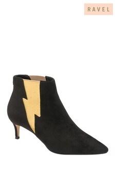 Ravel Black Kitten Heel Sock Boots