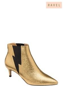 Ravel Gold Kitten Heel Sock Boots