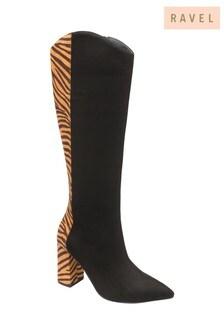 Ravel Black Zebra Knee High Boots