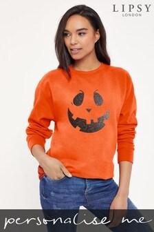 Personalised Lipsy Halloween Mr Pumpkin Face Womens Sweatshirt by Instajunction