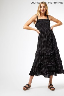 Dorothy Perkins Black Spot Frill Shirred Maxi Dress