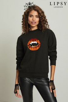 Instajunction Black Lipsy Halloween Vampire Fire Lips Women's Sweatshirt