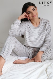 Lipsy Grey Zebra Fleece Twosie
