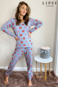 Lipsy Grey Jersey Printed PJ Set