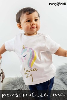 Personalised Organic Cotton Unicorn Birthday T-shirt by Percy & Nell