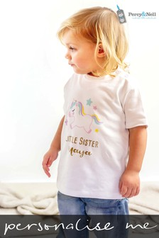 Personalised Organic Cotton Little Sister Unicorn T- shirt By Percy & Nell