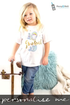 Personalised Organic Cotton Glitter Mermaid T-Shirt By Percy & Nell