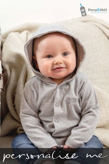 Personalised Organic Cotton Embroidered Initials Grey Stripey Baby Hooded Jacket By Percy & Nell