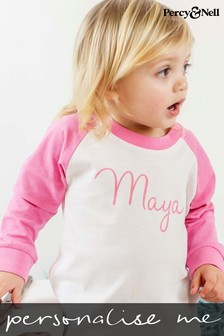 Personalised Pink/White Organic Cotton Baby and Toddler's Pyjamas By Percy & Nell