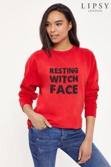 Instajunction Red Lipsy Halloween Resting Witch Face Women's Sweatshirt