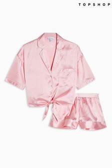 Topshop Tie Satin Chloe PJ Set