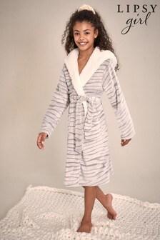 Lipsy Grey Zebra Borg Lined Fleece Robe