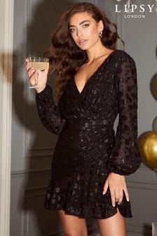 Lipsy Black Metallic Long Sleeve Printed Mini Dress
