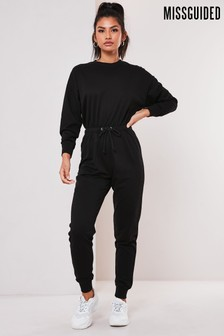Missguided Black Drop Shoulder Draw String Waist Jumpsuit