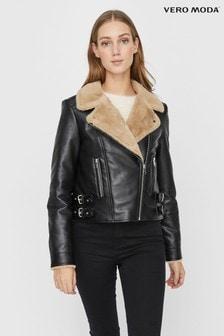 Vero Moda Black Leather Look Faux Fur Lined Biker Jacket
