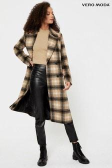 Vero Moda Brown Tailored Wool Check Coat