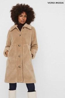 Vero Moda Silver Long Teddy Coat