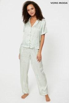 Vero Moda Grey Short Sleeve Satin PJ Set