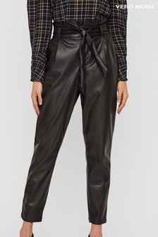 Vero Moda High Waisted Faux Leather Paperbag Trouser