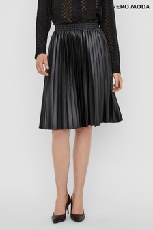 Vero Moda Black Faux Leather Pleated Midi Skirt