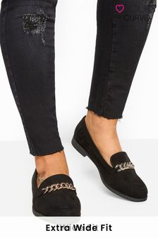 Yours Black Curve Brag Trim Loafer In Extra Wide Fit