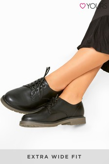 Yours Black Bala Lace-Up Casual Shoes In Extra Wide Fit