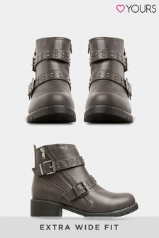 Yours Alto Stud Strap Zip Ankle Boot
