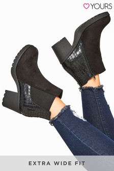 Yours Black Acker Platform Mat Mix Chelsea Boot