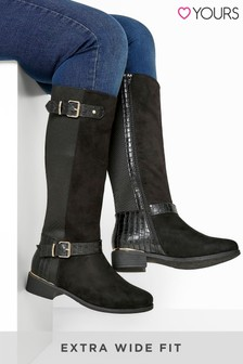 Yours Amour Mat Mix Stretch High Leg Boot