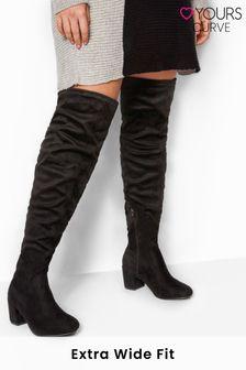 Yours Evita Block Heel Over the Knee Boot