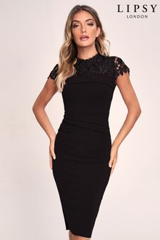 Lipsy Black Yoke Bodycon Dress